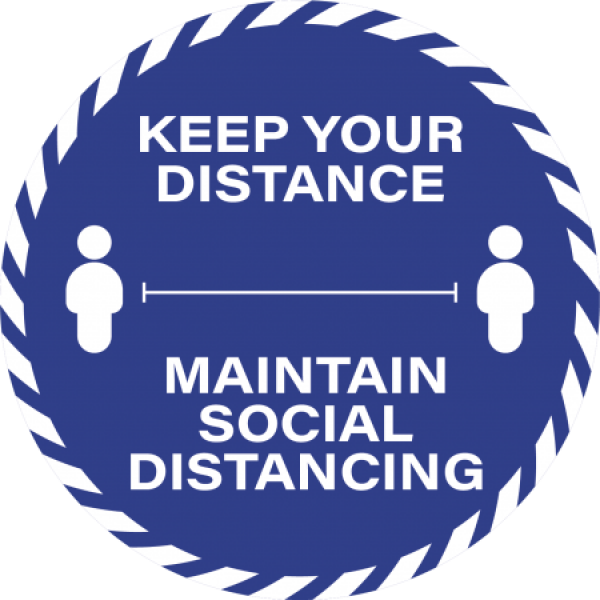 Blue Social Distancing Floor Sticker 30cm Keep Your Distance  (BOX 10)