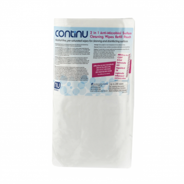 Continu 2 in 1 Anti-microbial Surface Cleaning Wipes Refill (200 Pack)