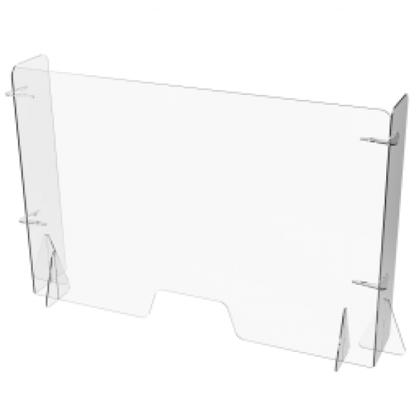 Free Standing Clear Perspex Counter With Returns 650h X 700w X 250d X 5mm