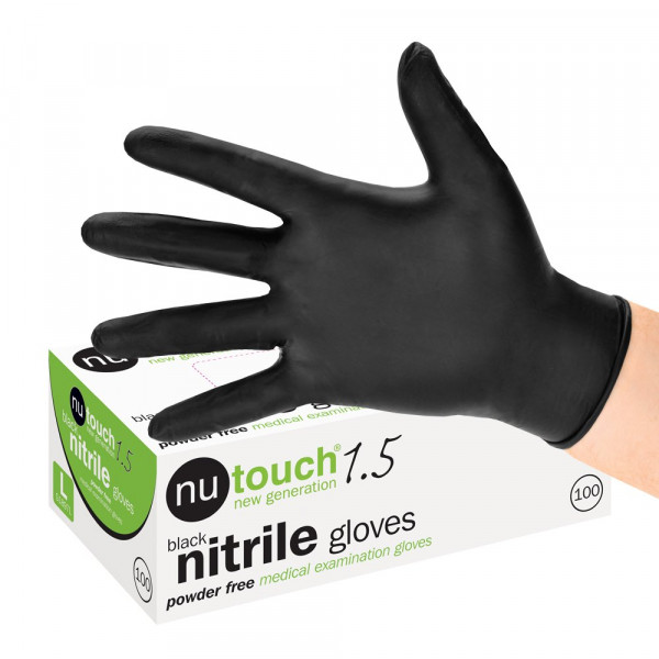 Nutouch 1.5 Medical Grade Powder Free Disposable Black Nitrile Gloves