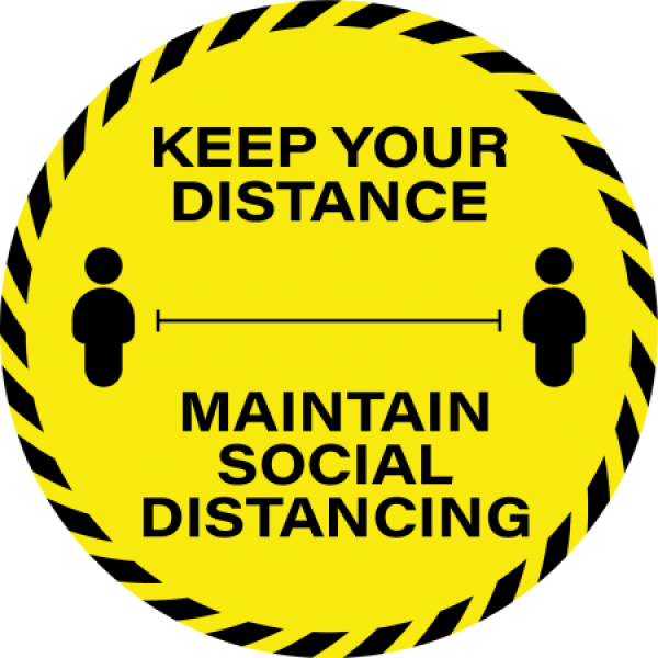 Social Distancing Floor Sticker 30cm Keep Your Distance (Box 10)